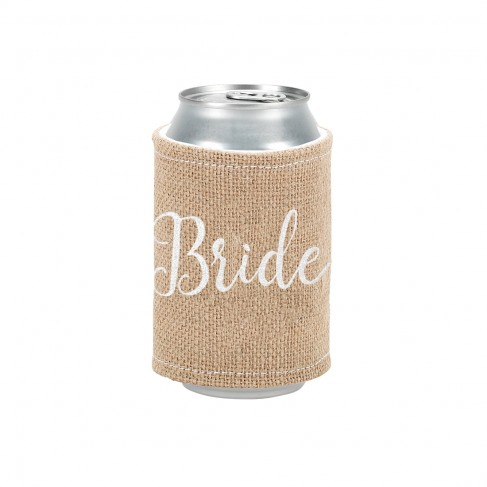 Burlap Drink Wrap Embroiderd Bride in White Thread