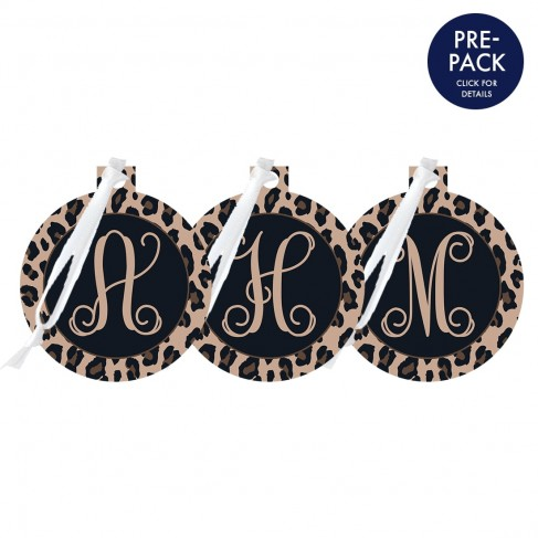 Leopard Round Ornament Single Initial Pre-Pack
