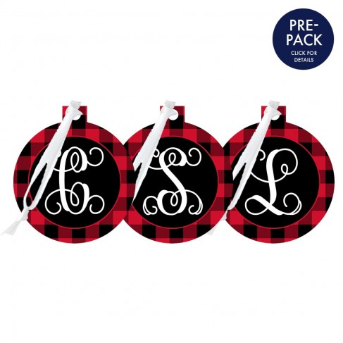Red Buffalo Check Round Ornament Single Initial Pre-Pack