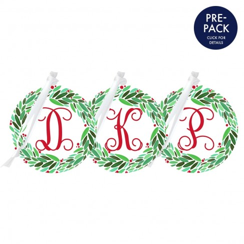 Wreath Round Ornament Single Initial Pre-Pack